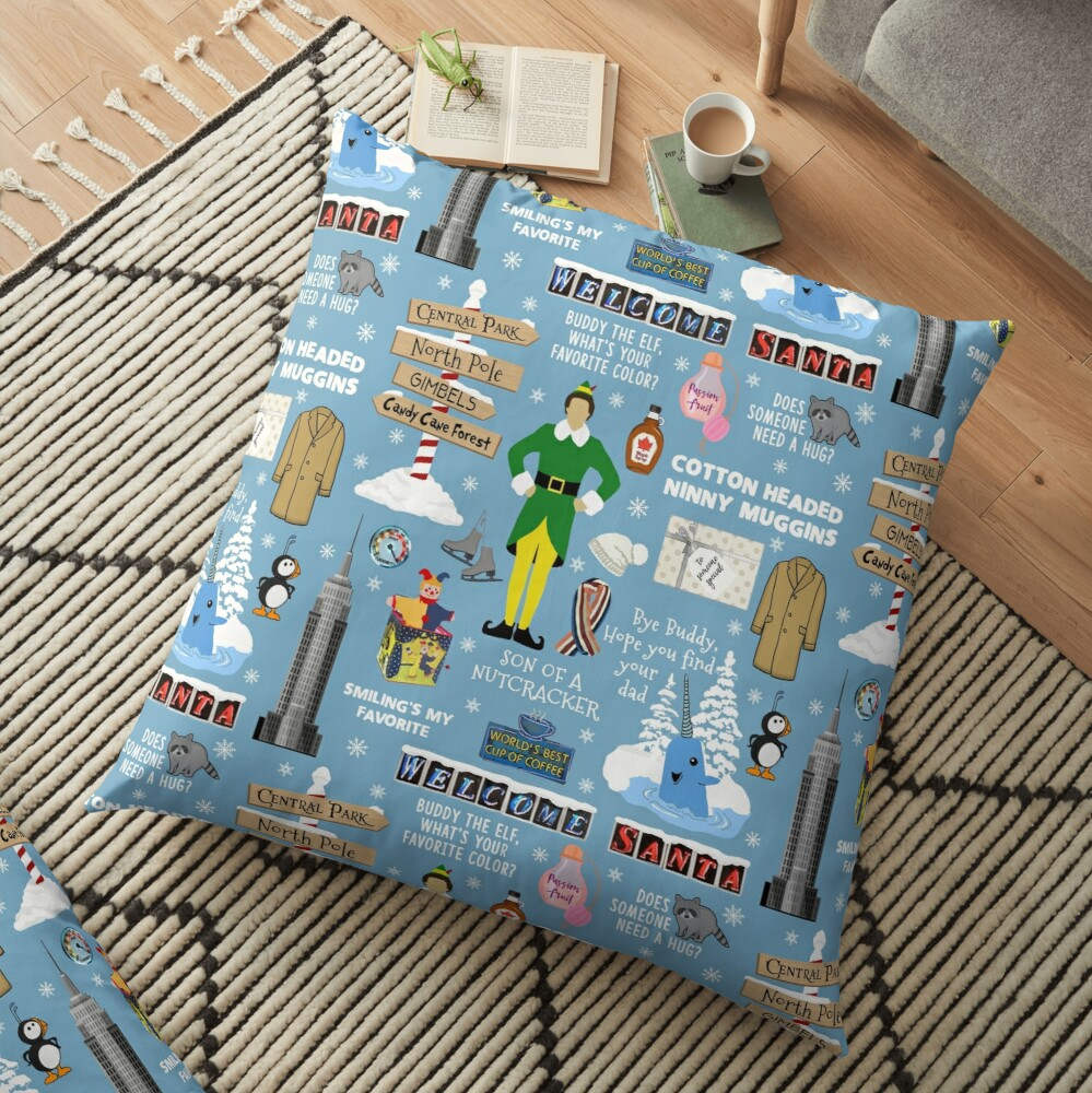 Buddy the Elf collage, Blue background Floor Pillow