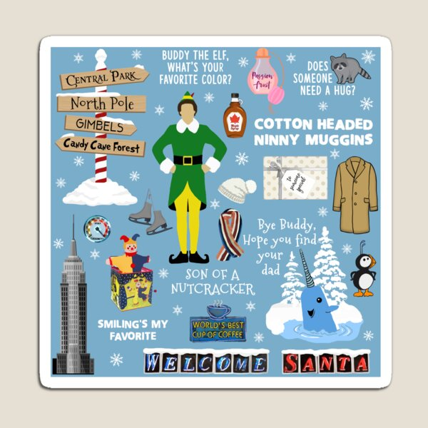 Buddy the Elf collage, Blue background Magnet