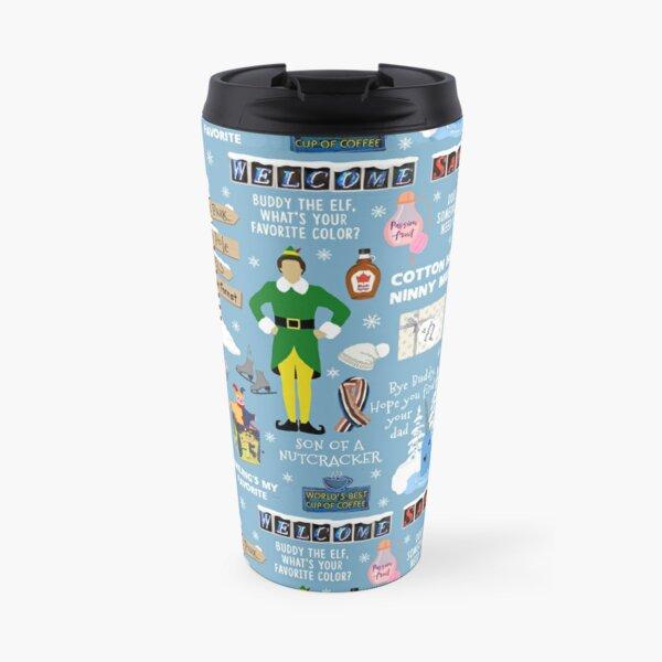 Buddy the Elf collage, Blue background Travel Mug