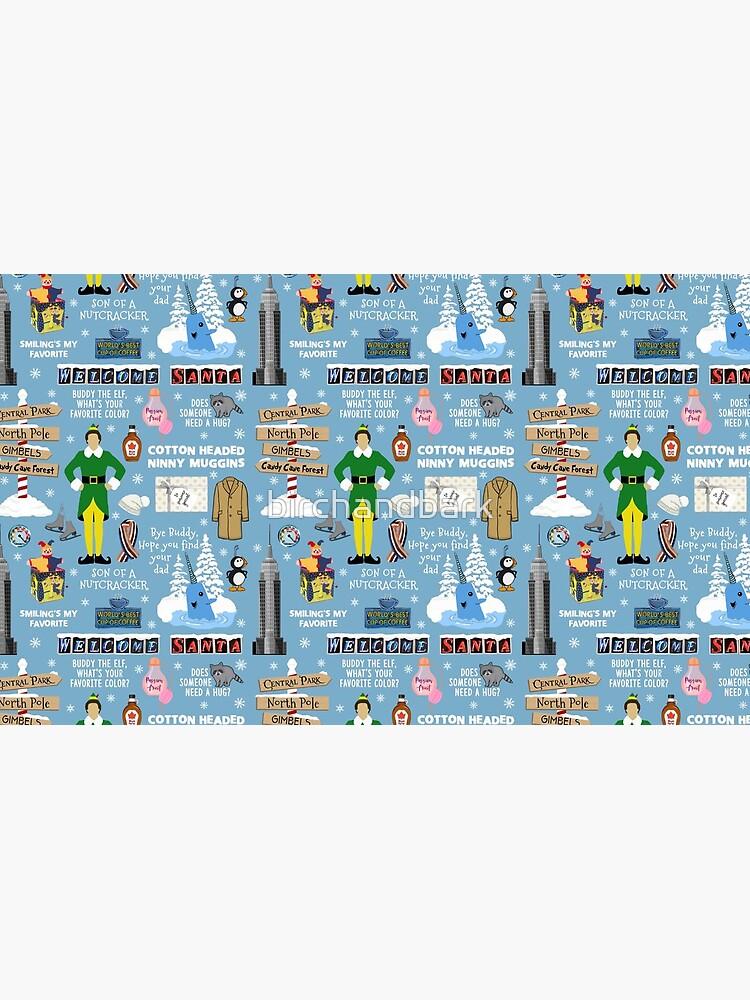 Buddy the Elf collage, Blue background by birchandbark