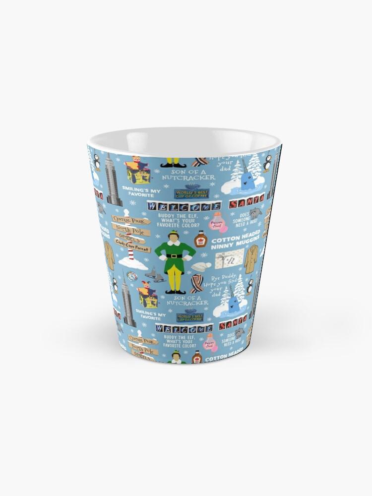 Alternate view of Buddy the Elf collage, Blue background Mug
