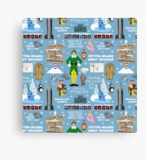 Buddy the Elf collage, Blue background Canvas Print