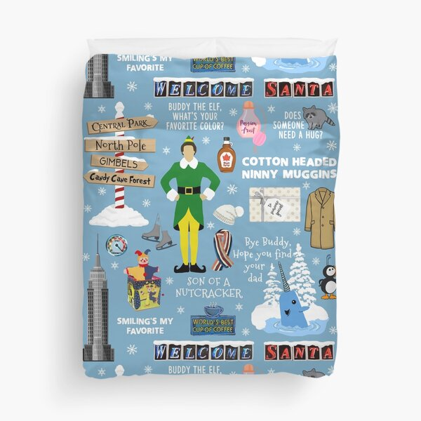 Buddy the Elf collage, Blue background Duvet Cover