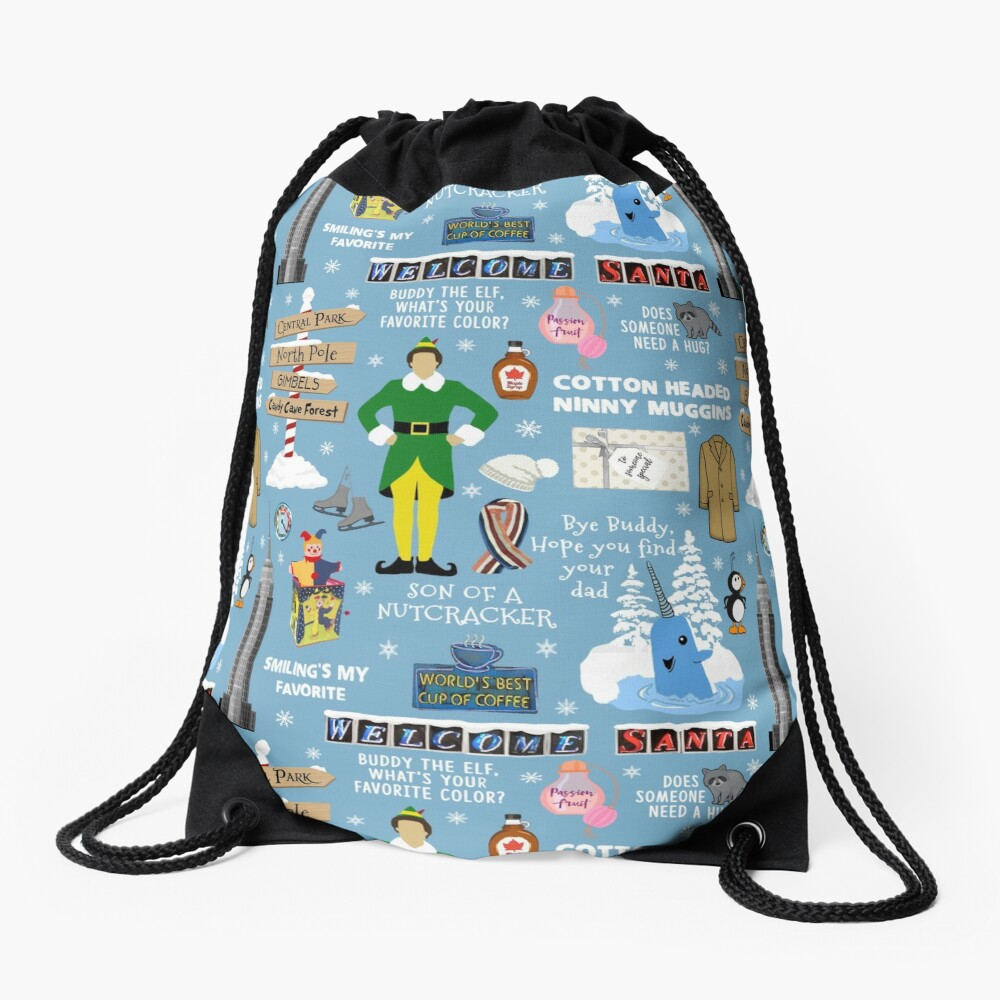 Buddy the Elf collage, Blue background Drawstring Bag