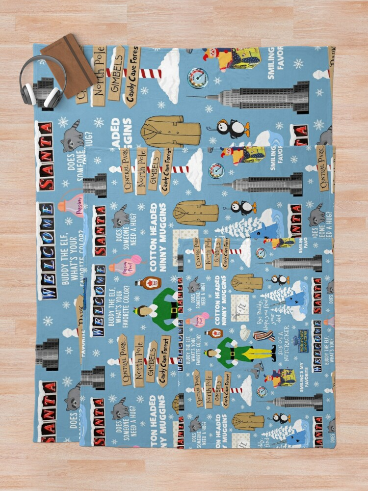 Alternate view of Buddy the Elf collage, Blue background Throw Blanket