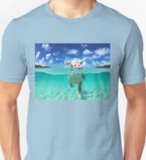 Cute Swimming Pigs in Bahamas Unisex T-Shirt