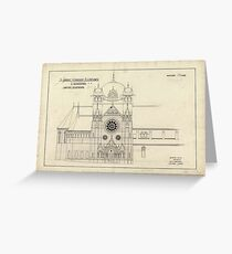 Plan of extension to St Johns Church, Launceston (Alexander North, Architect) Greeting Card