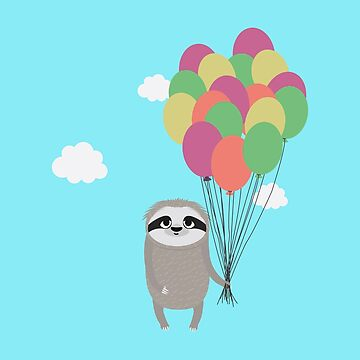 Happy Sloth with balloons nature-Design by ilovecotton