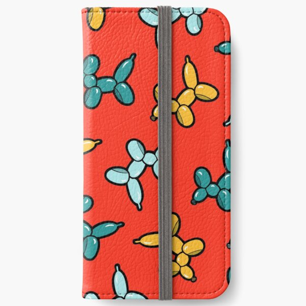 Balloon Animal Dogs Pattern in Red iPhone Wallet