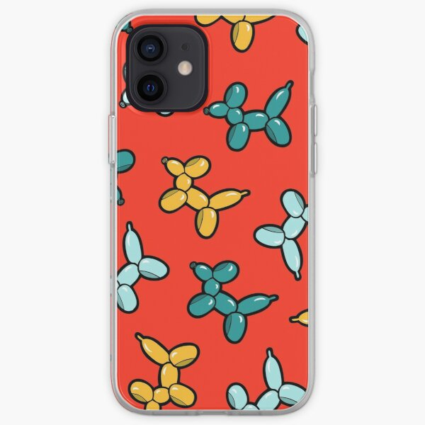 Balloon Animal Dogs Pattern in Red iPhone Soft Case