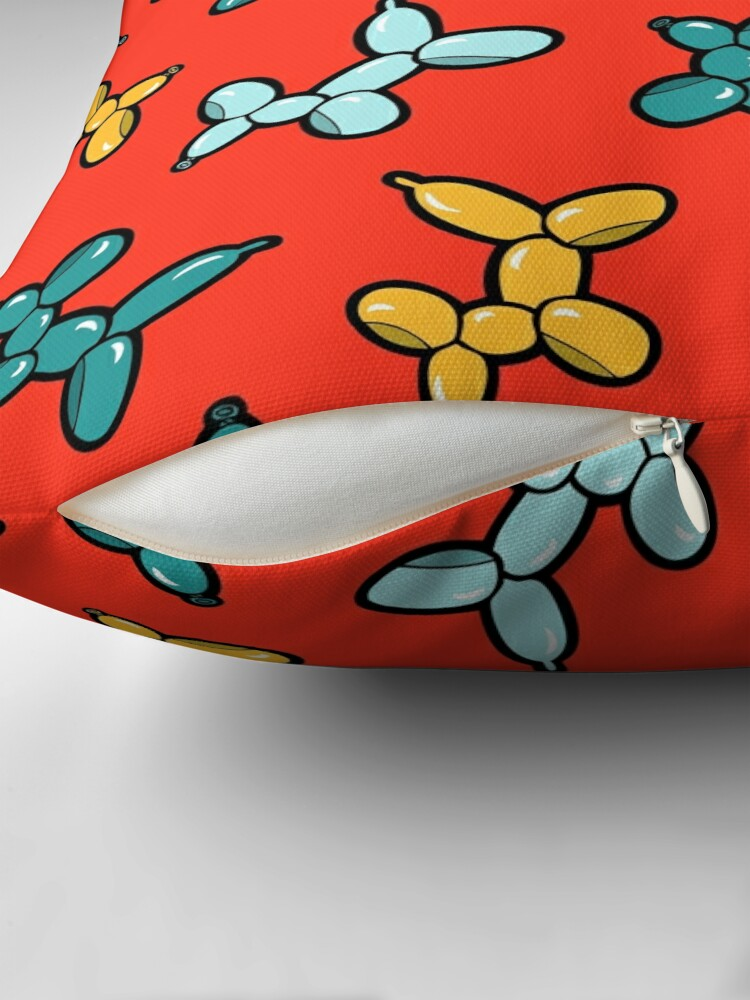 Alternate view of Balloon Animal Dogs Pattern in Red Throw Pillow