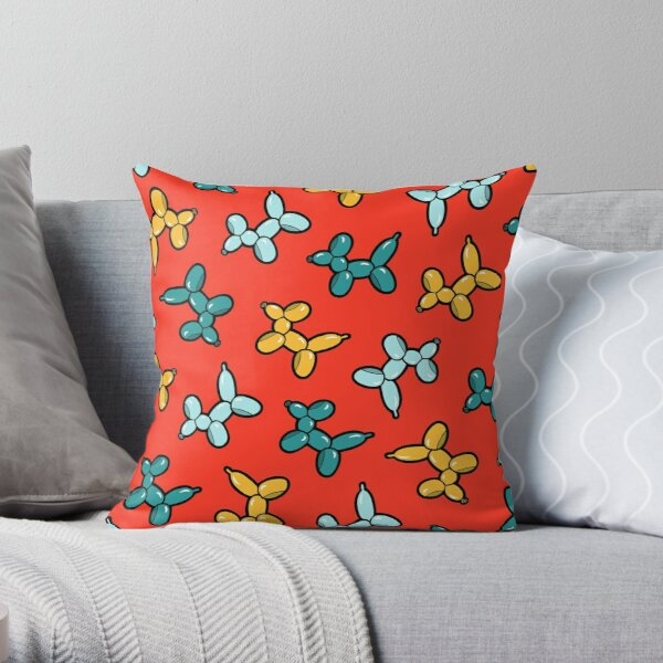 Balloon Animal Dogs Pattern in Red Throw Pillow