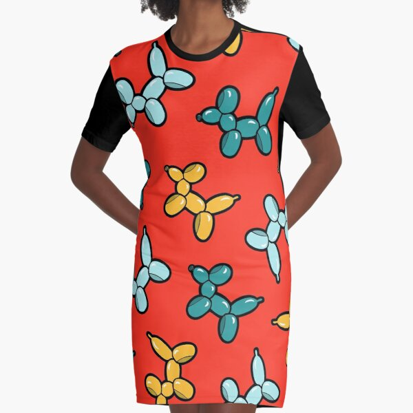 Balloon Animal Dogs Pattern in Red Graphic T-Shirt Dress
