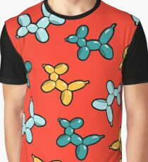 Balloon Animal Dogs Pattern in Red Graphic T-Shirt