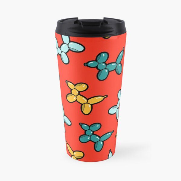 Balloon Animal Dogs Pattern in Red Travel Mug