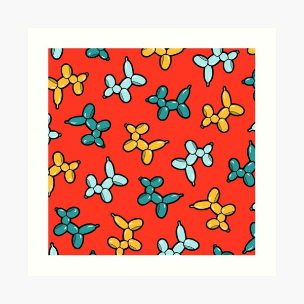 Balloon Animal Dogs Pattern in Red Art Print