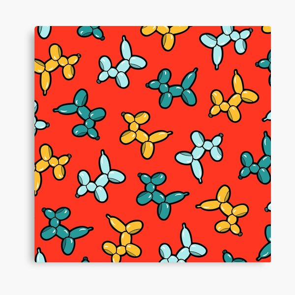 Balloon Animal Dogs Pattern in Red Canvas Print