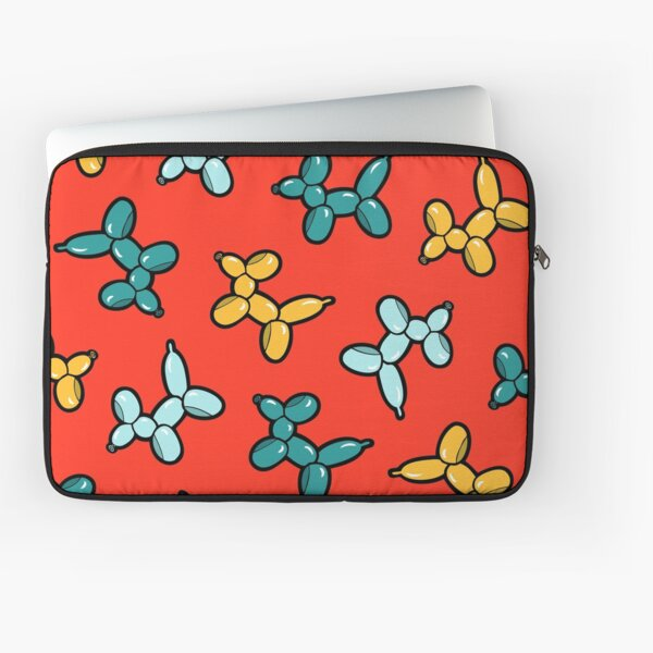 Balloon Animal Dogs Pattern in Red Laptop Sleeve