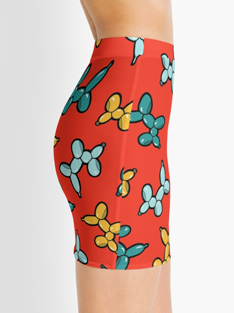 Alternate view of Balloon Animal Dogs Pattern in Red Mini Skirt