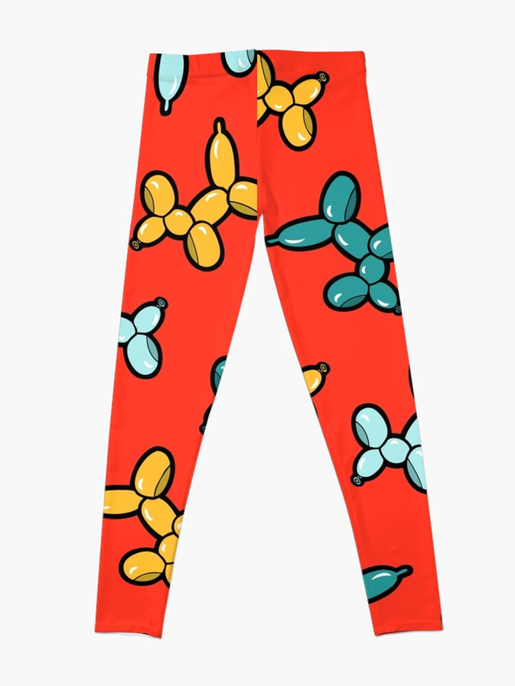 Alternate view of Balloon Animal Dogs Pattern in Red Leggings