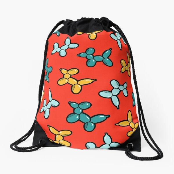 Balloon Animal Dogs Pattern in Red Drawstring Bag