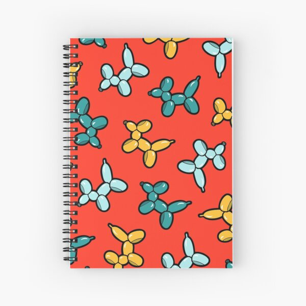 Balloon Animal Dogs Pattern in Red Spiral Notebook