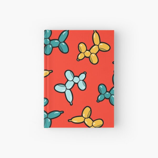 Balloon Animal Dogs Pattern in Red Hardcover Journal