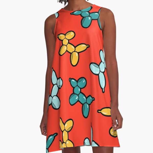 Balloon Animal Dogs Pattern in Red A-Line Dress