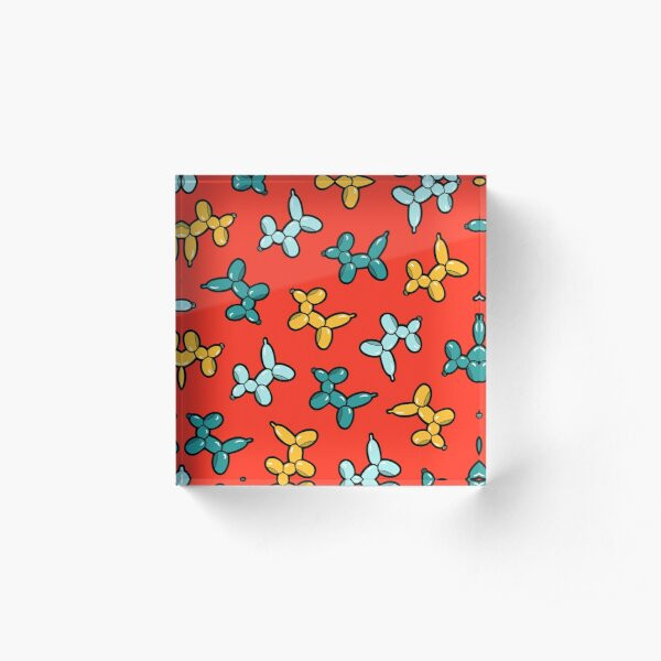 Balloon Animal Dogs Pattern in Red Acrylic Block
