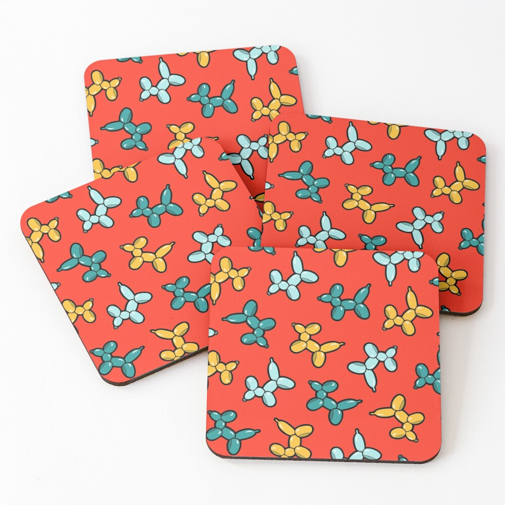Balloon Animal Dogs Pattern in Red Coasters (Set of 4)
