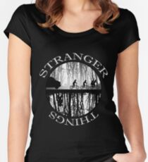 Stranger Things The Upside Down V2 Black and White Women's Fitted Scoop T-Shirt