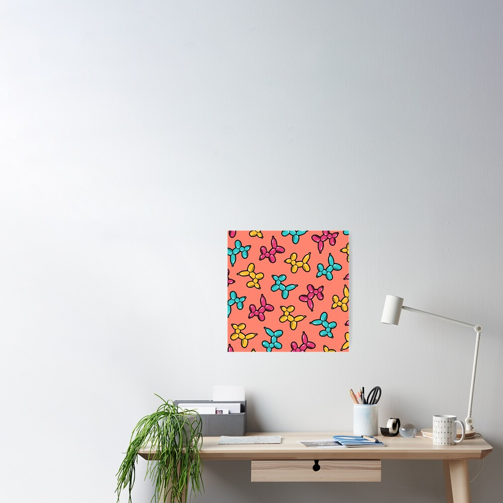 Balloon Animal Dogs Pattern in Coral Poster