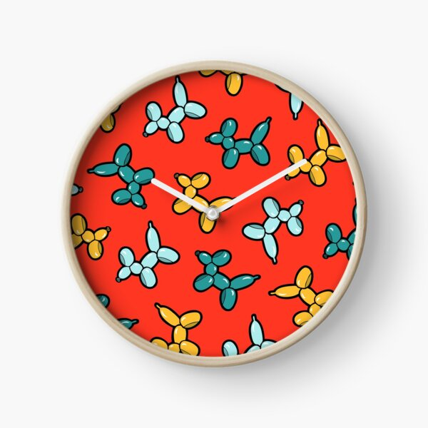 Balloon Animal Dogs Pattern in Red Clock