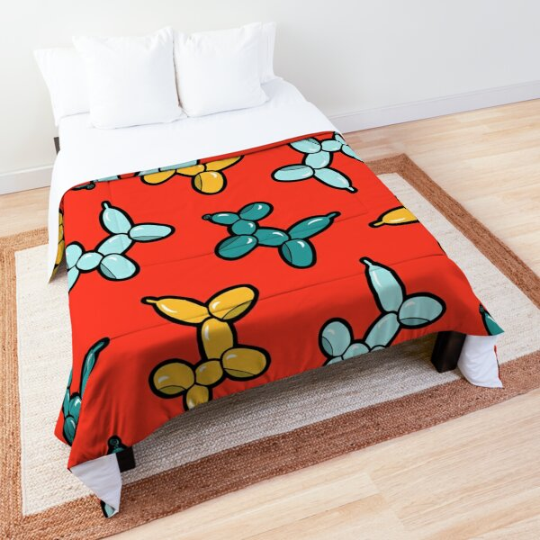 Balloon Animal Dogs Pattern in Red Comforter