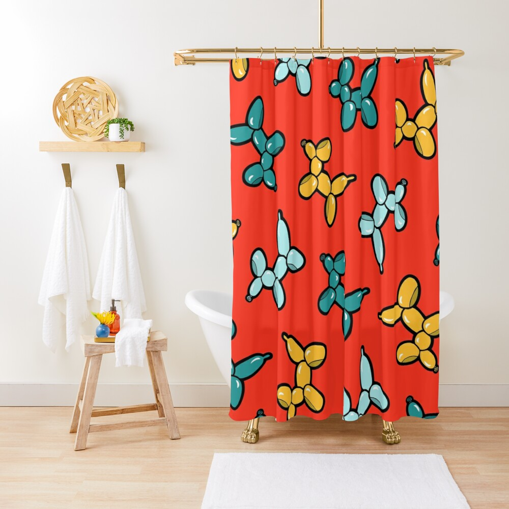 Balloon Animal Dogs Pattern in Red Shower Curtain