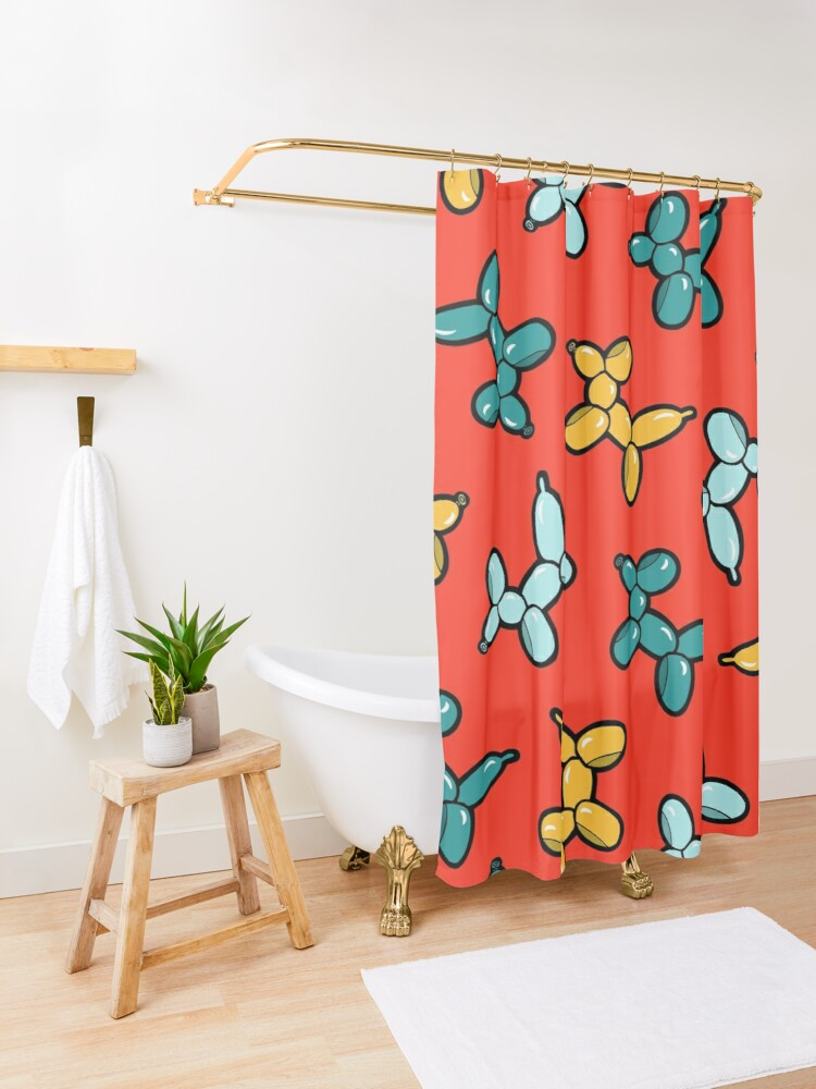 Alternate view of Balloon Animal Dogs Pattern in Red Shower Curtain