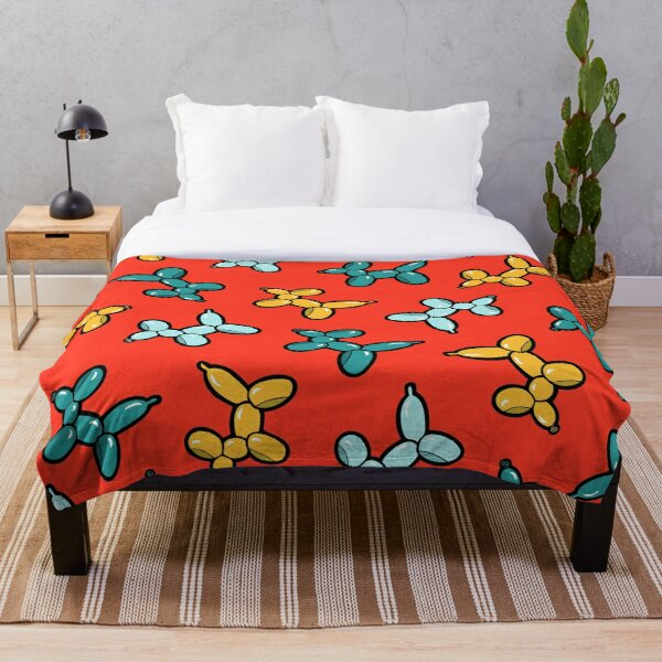 Balloon Animal Dogs Pattern in Red Throw Blanket