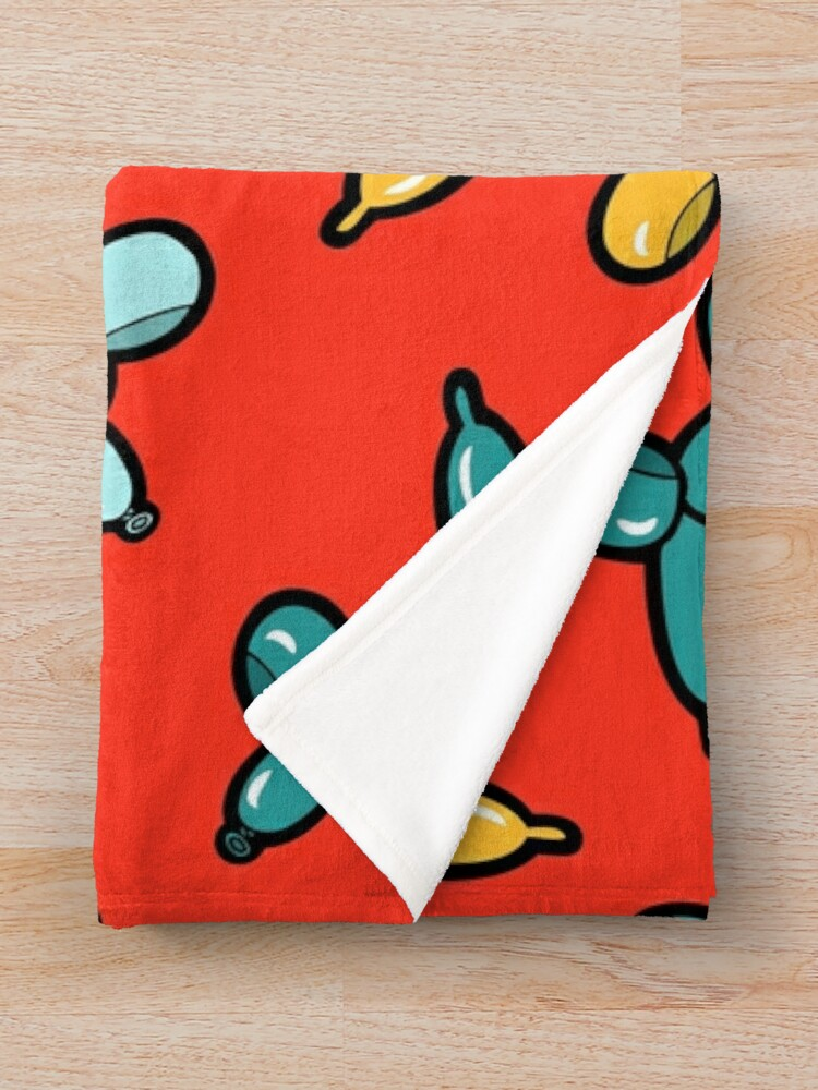 Alternate view of Balloon Animal Dogs Pattern in Red Throw Blanket