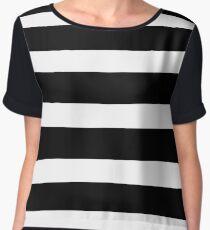 Black white Horizontal Stripes Dress Skirt Women's Chiffon Top