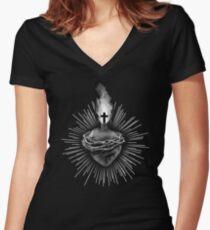 Sacred Heart Fitted V-Neck T-Shirt