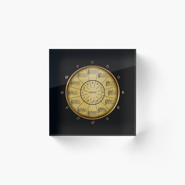 Circle of Fifths with Look of Brass Acrylic Block