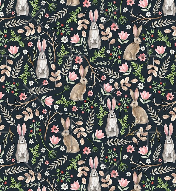 Cute rabbits (dark blue)  by JuliaBadeeva