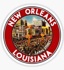 New Orleans Louisiana Mardi Gras Canal Street Vintage Travel Sticker