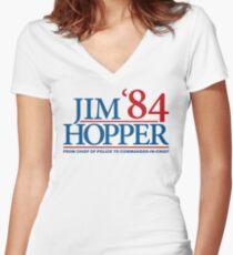 Jim Hopper Women's Fitted V-Neck T-Shirt
