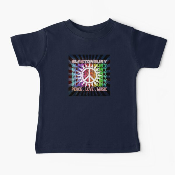 Glastonbury  / Peace Love Music Festival Hippie Art Baby T-Shirt