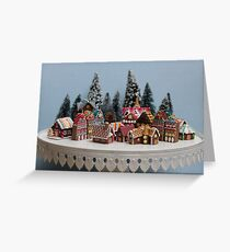 Snowy Christmas Gingerbread House Village Greeting Card