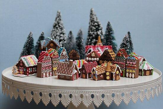 Christmas Gingerbread House.Snowy Christmas Gingerbread House Village Photographic Print By Stephanie Kilgast