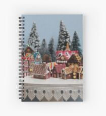 Snowy Christmas Gingerbread House Village Spiral Notebook