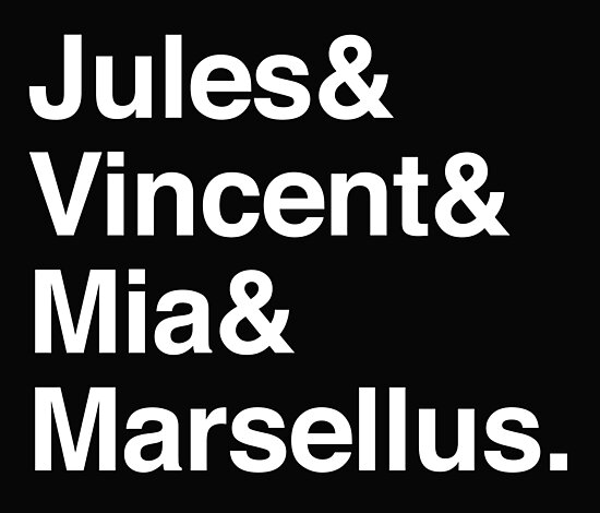 Jules & Vincent & Mia & Marcellus. (in white) by jazzydevil