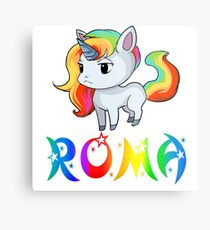 Roma Unicorn Sticker Metal Print